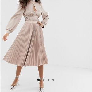 ASOS Satin Pleated Blush Midi Skirt